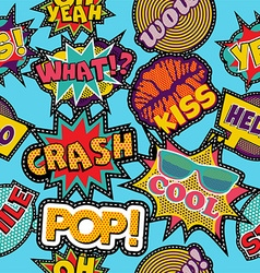 Pop art cartoon patch icon seamless pattern vector image vector image