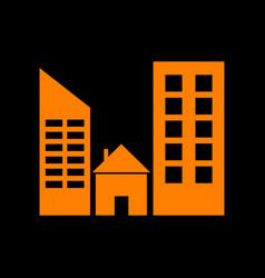 Real estate sign orange icon on black background vector