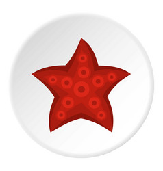 Red starfish icon circle vector