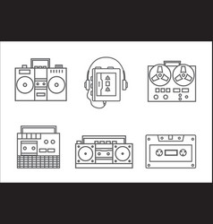 retro tape recorder linear icon vector image