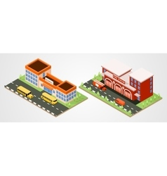 School and fire station vector