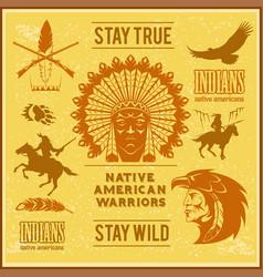 Set of wild west american indian designed elements vector