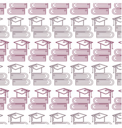 Silhouette books tools with graduation cap vector
