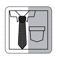 Sticker square silhouette close up formal shirt vector