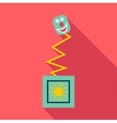 Toy on spring in box icon flat style vector