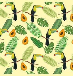 Tropical and exotics flowers with toucan and vector