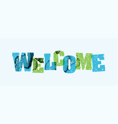 Welcome concept stamped word art vector