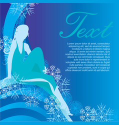 Winter girl on blue background vector
