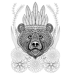 Zentangle stylized bear with war bonnet on flowers vector
