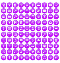 100 business training icons set purple vector