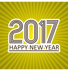 Happy new year 2017 like sticker on sunny stripped vector