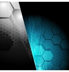 Dark contrast tech geometric background vector