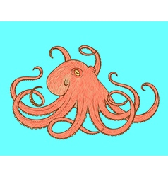 Octopus line art style design for t-shirt posters vector