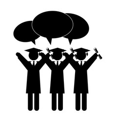 Silhouette group people graduated with dialog vector