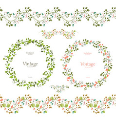 Pretty floral collection cute set seamless vector