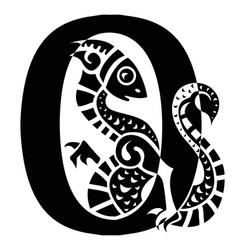 Gargoyle capital letter o vector