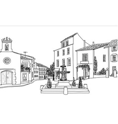 Old city street view european cityscape house vector