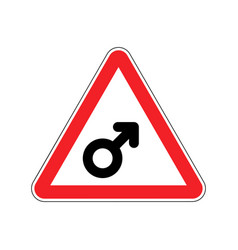 Attention man male sign on red triangle road sign vector