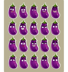 Cute cartoon eggplant smile with many expressions vector