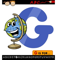 Letter g with globe cartoon vector