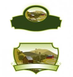 American farm scene labels vector image