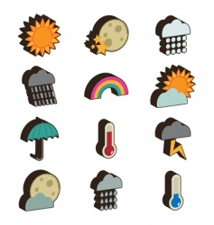 3d weather icons vector image vector image