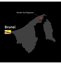 Detailed map of brunei and capital city bandar vector