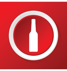 Bottle icon on red vector