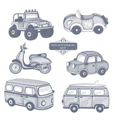 Retro cars icons set vector