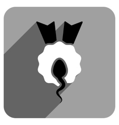 Sperm winner flat square icon with long shadow vector