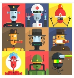 Cartoon robots of different professions vector