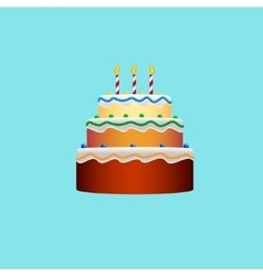Colorful birthday cake in the style of a flat vector