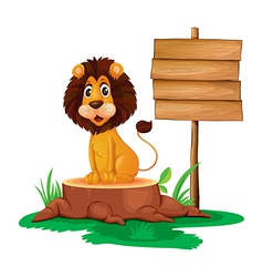 A lion sitting on a stump beside an empty wooden vector