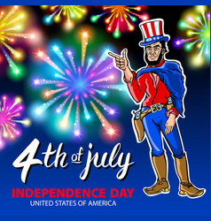 A men celebrating independence day poster vector