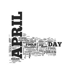 April fool s trick text word cloud concept vector