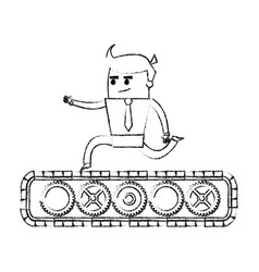 blurred silhouette image cartoon business man vector image