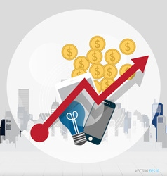 Business concept with business items mobile phone vector