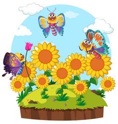 butterflies flying around flower garden vector image vector image