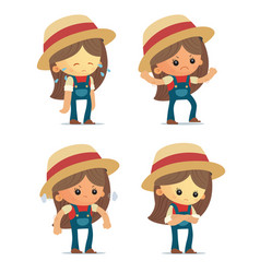 cartoon farm girls vector image