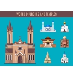 Cathedrals churches and mosques building vector image vector image