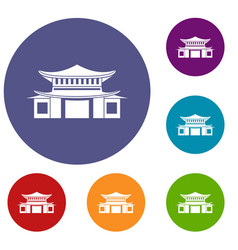 Chinese icons set vector