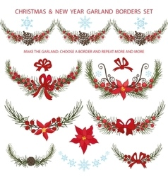 Christmas bordersgarlands decoationspruce vector