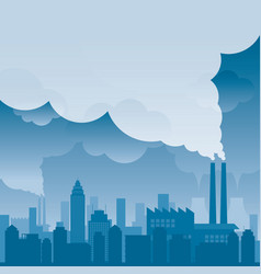 City with pollution problem blue background vector