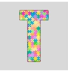Color piece puzzle jigsaw letter - t vector