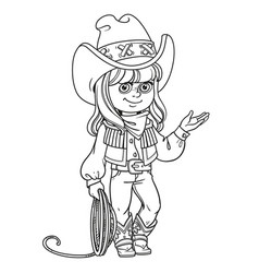Cute girl in a cowboy suit is holding a lasso vector