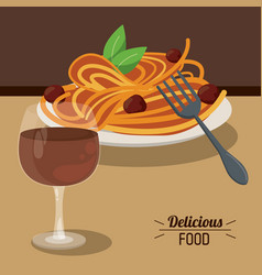 Delicious food spaghetti meatballs and glass cup vector