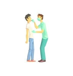 Doctor examining patients throat vector