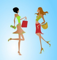 Fashion shopping girls clipart vector
