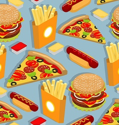 Fast food seamless pattern hot dog background vector