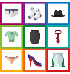 Flat icon garment set of stylish apparel foot vector